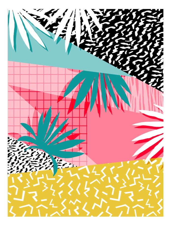 Sunday's Society6 - Wacka retro neon tropical colorful pattern pop art