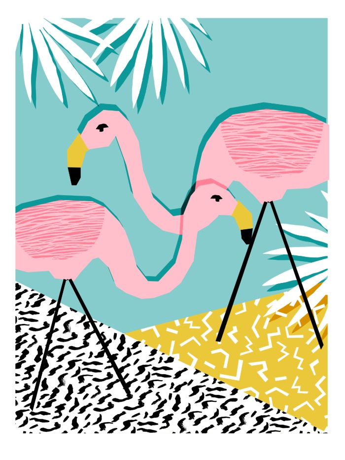 Sunday's Society6 - Wacka retro neon tropical colorful pattern pop art flamingo