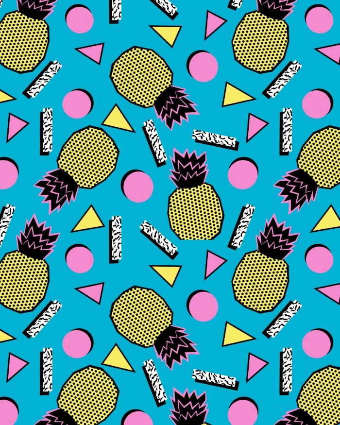 Sunday's Society6 - Wacka retro neon tropical colorful pattern pop art pineapples