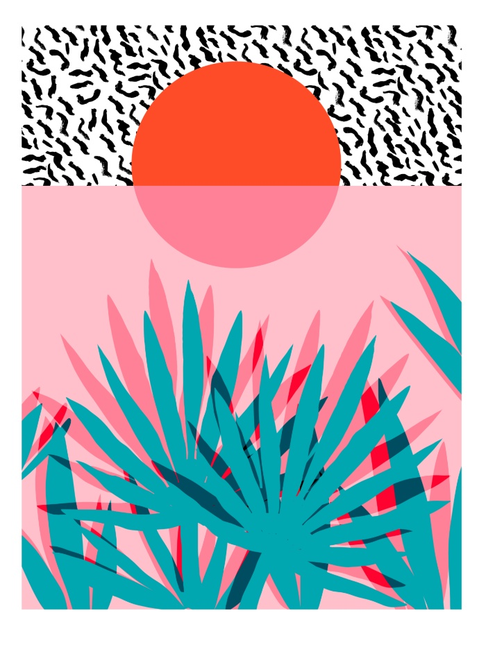 Sunday's Society6 - Wacka retro neon tropical colorful pattern pop art sunrise sunset
