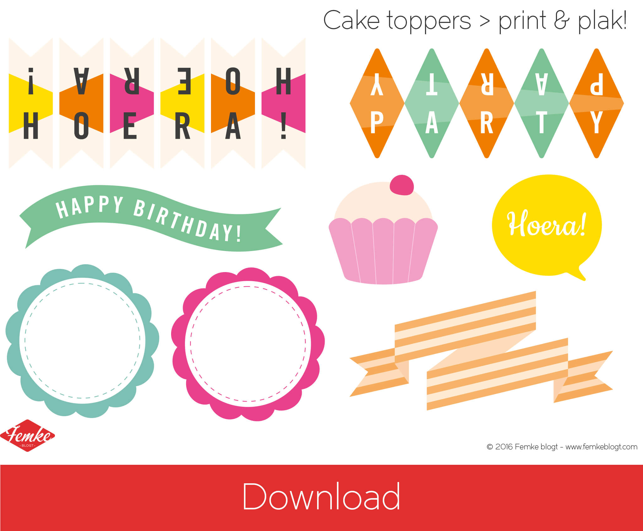 Download printable DIY cake toppers