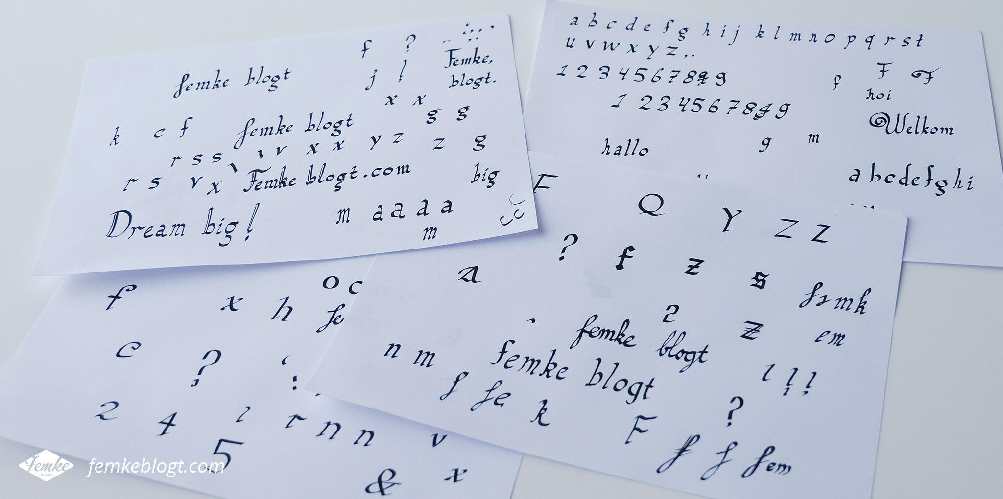 kalligrafie oefenen
