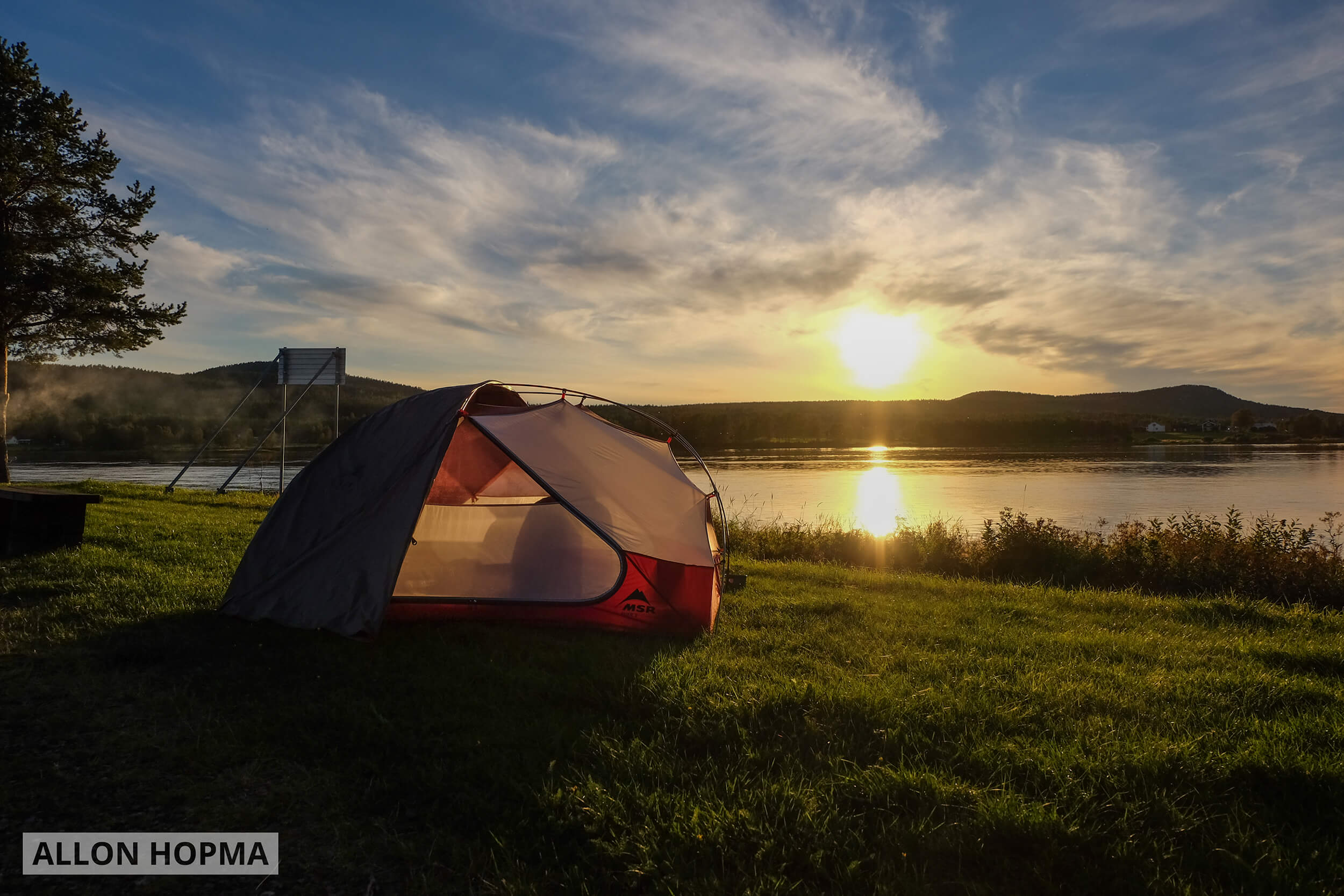 Tent at lake in Finland