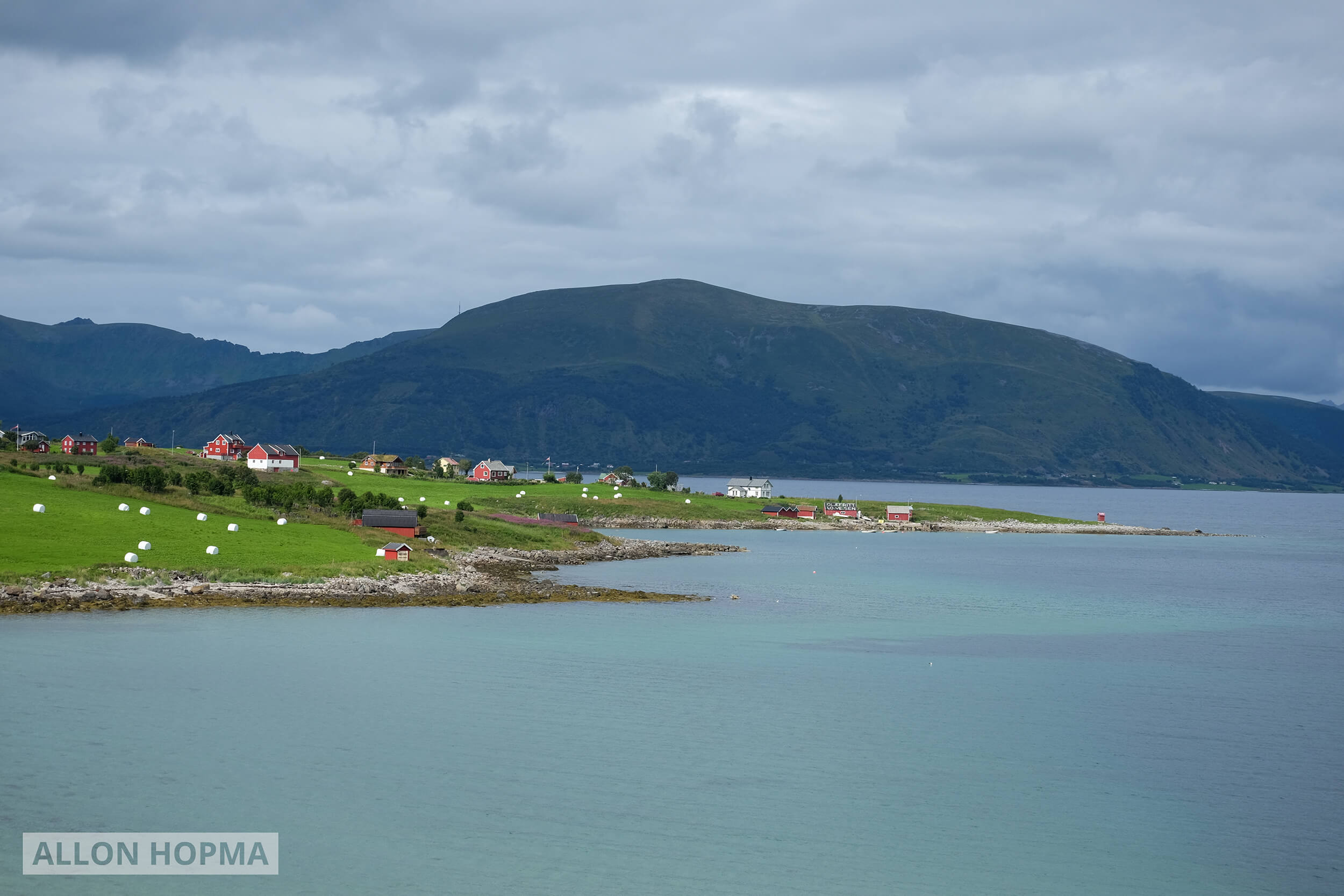 Red houses at the edge of a fjord