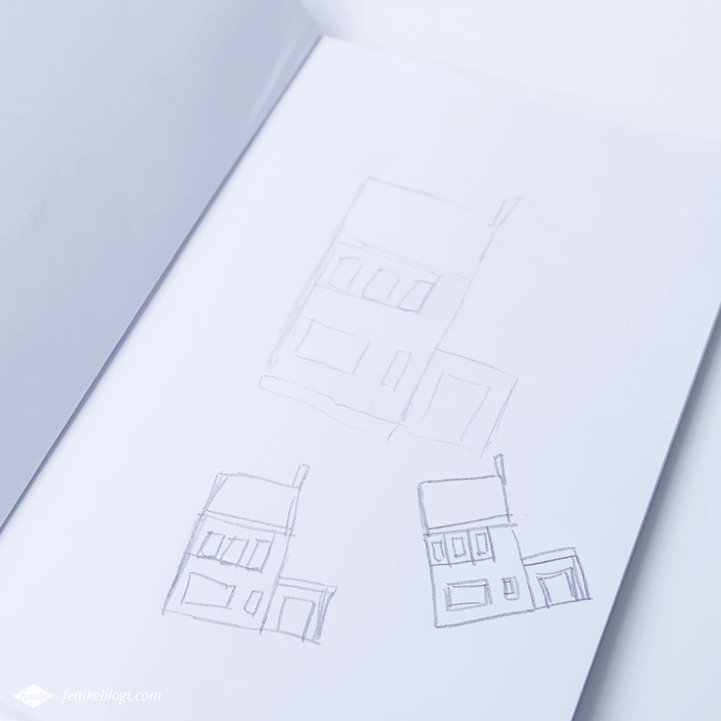 Verhuiskaart inspiratie omgezet in schets