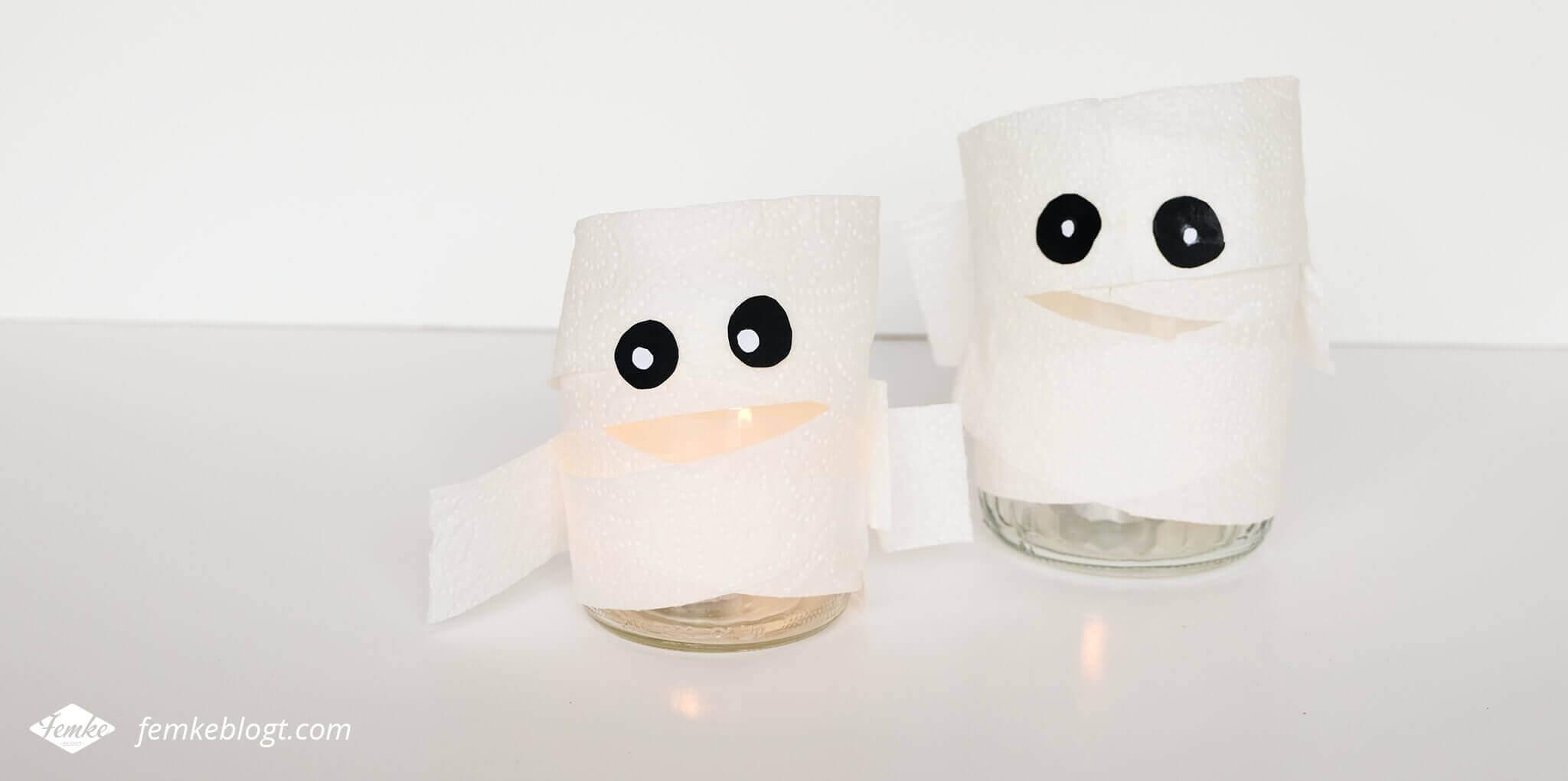 DIY Halloween decoratie   Mummies met een waxinelichtje