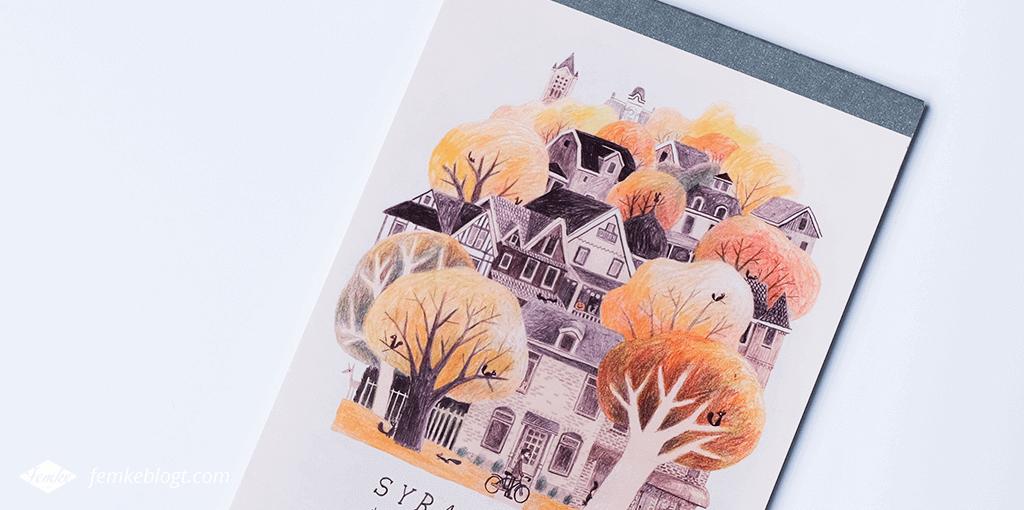 Mijn favoriete notitieboekjes   Notitieblok met illustratie van Syracuse in de herfst op de voorkant